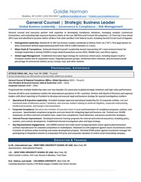 General Counsel Resume Sample<br />All material is copyrighted by The Writing Guru.